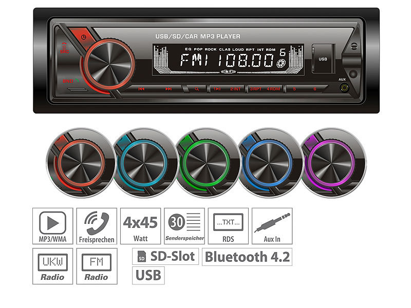 MP3-Autoradio mit Bluetooth & Freisprechfunktion, RDS, USB, SD, 4x45 W