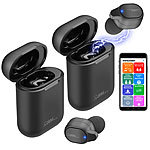Callstel 2er-Set 2in1-Live-Übersetzer, In-Ear-Mono-Headset, Powerbank-Box & App Callstel 2in1-Live-Übersetzer & In-Ear-Mono-Headsets, mit Powerbank-Ladeboxen