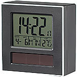 infactory Solar-Funkwecker DCF mit Beleuchtung, Kalender & Thermometer infactory