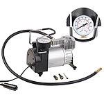 Lescars Mini-Luft-Kompressor mit Manometer, 12 V, 100 psi, 168 Watt, 3 Adapter Lescars 12-V-Kfz-Druckluft-Kompressoren