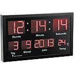 Lunartec Multi LED Funk Uhr Mit Datum Und Temperatur 412 Rote LEDs