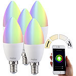 Luminea 5er-Set WLAN-LED-Lampe, kompat. zu Alexa & Google Assistant, E14 Luminea WLAN-LED-Lampen E14 RGBW