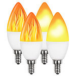 Luminea 4er-Set LED-Lampen mit Flammeneffekt, 3 Beleuchtungs-Modi, E14, 2 W, Luminea LED-Flammen-Lampen (E14)