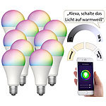 Luminea Home Control 10er-Set WLAN-LED-Lampen für Amazon Alexa/Google Assistant, E27,12 W Luminea Home Control WLAN-LED-Lampen E27 RGBW
