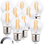 Luminea 9er-Set LED-Filament-Lampen, G45, E27, 470 lm, 4 W, 2700 K, dimmbar Luminea LED-Filament-Tropfen E27 (warmweiß)