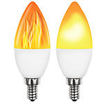 Luminea 2er-Set LED-Lampen mit Flammeneffekt, 3 Beleuchtungs-Modi, E14, 2 W, Luminea LED-Flammen-Lampen (E14)