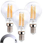 Luminea 3er-Set LED-Filament-Lampen, G45, E14, 470 lm, 4 W, 2700 K, dimmbar Luminea LED-Filament-Tropfen E14 (warmweiß)
