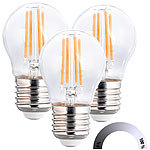 Luminea 3er-Set LED-Filament-Lampen, G45, E27, 470 lm, 4 W, 2700 K, dimmbar Luminea LED-Filament-Tropfen E27 (warmweiß)