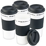 PEARL 4er-Set Coffee-to-go-Becher mit Deckel, 475 ml, doppelwandig, BPA-frei PEARL Doppelwandige Coffee-to-go-Becher