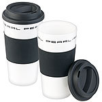 PEARL 2er-Set Coffee-to-go-Becher mit Deckel, 475 ml, doppelwandig, BPA-frei PEARL Doppelwandige Coffee-to-go-Becher