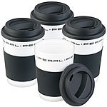 PEARL 4er-Set Coffee-to-go-Becher mit Deckel, 350 ml, doppelwandig, BPA-frei PEARL Doppelwandige Coffee-to-go-Becher