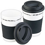 PEARL 2er-Set Coffee-to-go-Becher mit Deckel, 350 ml, doppelwandig, BPA-f PEARL Doppelwandige Coffee-to-go-Becher