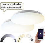 Luminea Home Control 2er-Set WLAN-LED-Deckenleuchten für Amazon Alexa&Google Assistant, 24W Luminea Home Control WLAN-LED-Deckenleuchte CCT