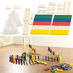 Playtastic 2er-Set 263-teilige Domino-Sets mit Holzsteinen & Action-Elementen Playtastic