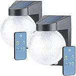 Luminea 2er Pack Solar-LED-Wandleuchte im Crackle-Glas-Design, PIR-Sensor, Luminea Solar-LED-Außenlampen mit PIR-Sensor, Nachtlicht-Funktion und einstellbarer Farbtemperatur