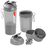 PEARL sports 3er-Set Fitness-Drink-Shaker mit 2 Pulverkammern & Mischball, je 500ml PEARL sports Fitness-Drink-Shaker