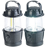 PEARL 2er-Set dimmbare LED-Laternen, 3 COB-LEDs, Batteriebetrieb, 3W, 140 lm PEARL Camping-Laternen batteriebetrieben