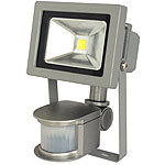 Luminea COB-LED-Fluter im Metallgehäuse, 10 W, IP44, PIR, 6500 K Luminea