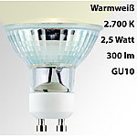 Luminea LED-Spotlight, Glasgehäuse, GU10, 2,5 Watt, 230 V, 300 lm, warmweiß Luminea LED-Spots GU10 (warmweiß)