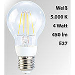 Luminea LED-Filament-Birne, 4 Watt, E27, 5000 K, 450 Lumen, 360°, weiß Luminea LED-Filament-Tropfen E27 (neutralweiß)