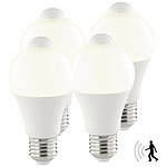 Luminea 4er-Set LED-Lampen, PIR-Sensor, 12 W, E27, warmweiß, 3000 K, 1.055 lm Luminea