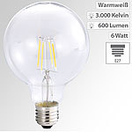 Luminea LED-Filament-Globelampe, G95, A++, E27, 6 Watt, 600 lm, 360°, 3000 K Luminea LED-Filament-Globen E27 (warmweiß)