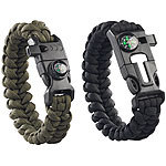Semptec Urban Survival Technology 2er-Set Survival-Armband mit Kompass, Seil, Pfeife, Feuerstahl, Messer Semptec Urban Survival Technology Paracord-Armbänder