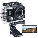 Somikon Einsteiger-4K-Action-Cam, WLAN, 2 Displays, Full HD 60 B./Sek., IP68 Somikon