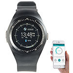 simvalley MOBILE 2in1-Uhren-Handy & Smartwatch für iOS & Android, rundes Display simvalley MOBILE Handy-Smartwatches mit Bluetooth für Android