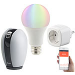 7links Smart-Home-Starter-Set 2, kompat. zu Amazon Alexa & Google Assistant 7links WLAN-Smart-Home-Sets mit IP-Kamera, LED-Lampe und Steckdose