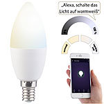 Luminea WLAN-LED-Lampe, für Amazon Alexa & Google Assistant, E14, weiß (CCT) Luminea WLAN-LED-Lampen E14 weiß