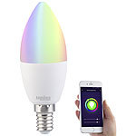 Luminea WLAN-LED-Lampe, kompat. zu Amazon Alexa & Google Assistant, E14, RGB+W Luminea E14-LED-Lampen, kompatibel zu Amazon Alexa & Google Assistant