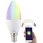 Luminea WLAN-LED-Lampe, kompat. zu Alexa & Google Assistant, E14 Luminea WLAN-LED-Lampen E14 RGBW