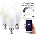Luminea 3er-Set WLAN-LED-Lampe, für Amazon Alexa & Google Assistant, E14, CCT Luminea WLAN-LED-Lampen E14 weiß