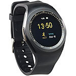 simvalley MOBILE 2in1-Uhren-Handy & Smartwatch für Android, rundes Display, Bluetooth simvalley MOBILE Handy-Smartwatches mit Bluetooth