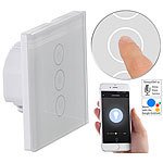 Luminea Home Control Touch-Lichtschalter & Dimmer, komp. zu Amazon Alexa & Google Assistant Luminea Home Control WLAN-Touch-Lichttaster & -Dimmer