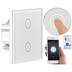 Luminea Home Control Touch-Doppel-Lichttaster, Amazon Alexa & Google Assistant kompatibel Luminea Home Control WLAN-Lichttaster
