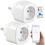 Luminea Home Control 2er-Set WLAN-Steckdosen, Amazon Alexa & Google Assistant komp., 16 A Luminea Home Control WLAN-Steckdosen