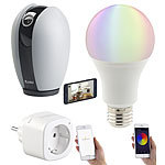 7links Smart-Home-Starter-Set 1, kompat. zu Amazon Alexa & Google Assistant 7links WLAN-Smart-Home-Sets mit IP-Kamera, LED-Lampe und Steckdose