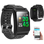 newgen medicals Fitness-GPS-Smartwatch, Herzfrequenz-Anzeige, Farb-Display, App, IP68 newgen medicals Fitness-Armbänder mit Herzfrequenz-Messung und GPS-Streckenaufzeichnung