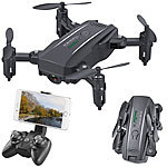 Simulus Faltbarer FPV-Mini-Quadrocopter, Full HD, WLAN, App, 5-MP-Sensor, 50 m Simulus Faltbarer WiFi-Quadrocopter mit HD-Kameras