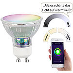 Luminea Home Control 4er-Set WLAN-LED-Glas-Lampen, GU10, für Siri, Alexa & GA, 4,5 W Luminea Home Control WLAN-LED-Lampen GU10 RGBW