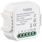 Luminea Home Control 4er-Set WLAN-Unterputz-2-Kanal-Lichtschalter & -Dimmer, App Luminea Home Control WLAN-2-Kanal-Lichtschalter mit Dimmerfunktion, für Unterputz
