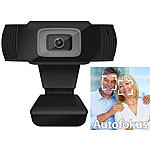 Somikon Full-HD-USB-Webcam mit 5 MP, Autofokus und Dual-Stereo-Mikrofon Somikon Webcams