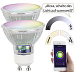 Luminea Home Control 2er-Set WLAN-LED-Glas-Lampen, GU10, für Siri, Alexa & GA, 4,5 W Luminea Home Control WLAN-LED-Lampen GU10 RGBW