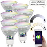 Luminea Home Control 8er-Set WLAN-LED-Glas-Lampe, GU10, für Siri, Alexa & GA, 4,5 W Luminea Home Control WLAN-LED-Lampen GU10 RGBW
