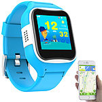 TrackerID Kinder-Smartwatch mit GPS-/GSM-/WiFi-Tracking, SOS-Taste, blau, IP65 TrackerID Kinder-Smartwatches mit Tracking per GPS & GSM/LBS