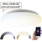 Luminea Home Control WLAN-LED-Deckenleuchte für Amazon Alexa & Google Assistant, CCT, 18 W Luminea Home Control WLAN-LED-Deckenleuchte CCT