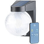 Luminea Solar-LED-Wandleuchte im Crackle-Glas-Design, PIR-Sensor, 200 Lumen Luminea Solar-LED-Außenlampen mit PIR-Sensor, Nachtlicht-Funktion und einstellbarer Farbtemperatur
