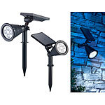 Luminea 2er-Set Solar-LED-Garten-Spots mit Erdspieß, 200 Lumen, 1,5 Watt, IP44 Luminea
